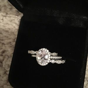 Jewelry - 3pcs Solid Silver Engagement Ring Wedding Band Set